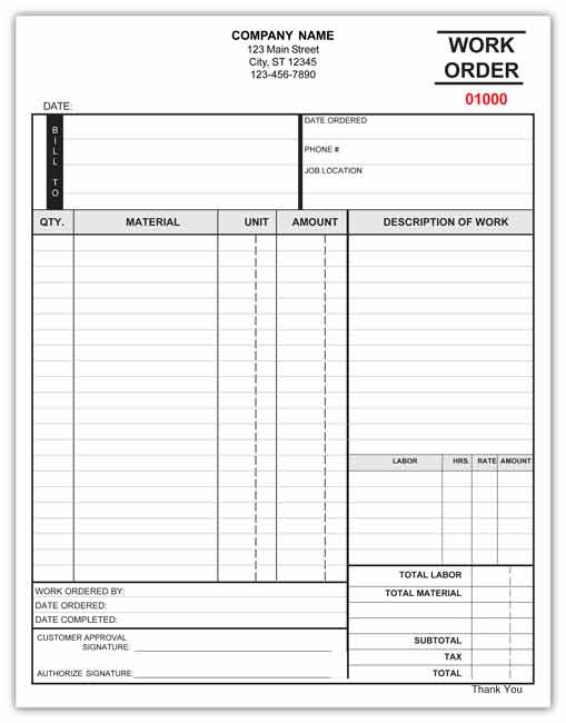 Free Work Order Forms Printable  Hlwhy