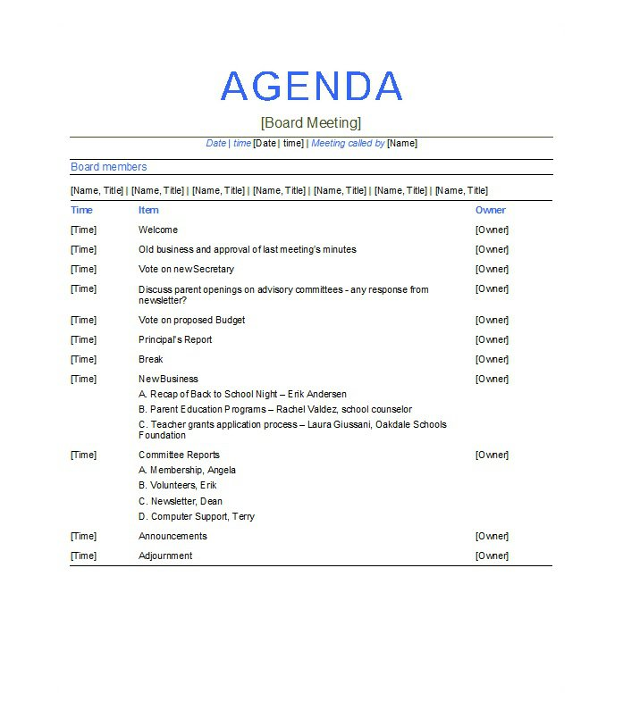 5 Meeting Agenda Template Free Download – Meeting Agenda