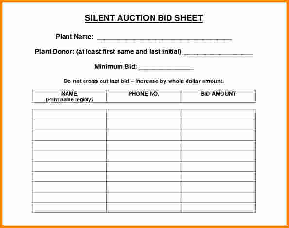 Unusual image pertaining to silent auction bid sheets free printable