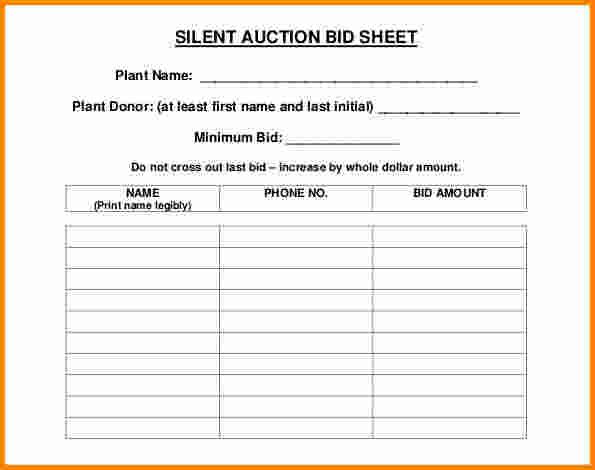 100 free silent auction bid sheet template donation