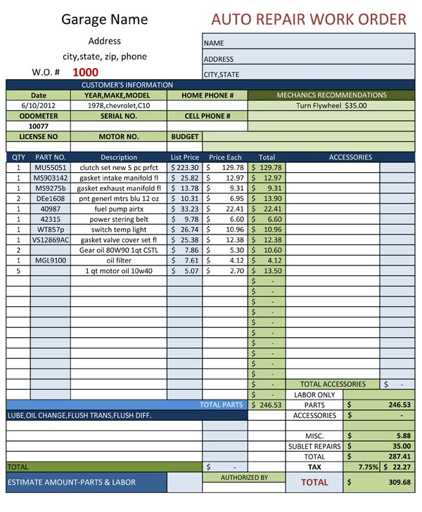 Auto Repair Work Order Template Free Download!!