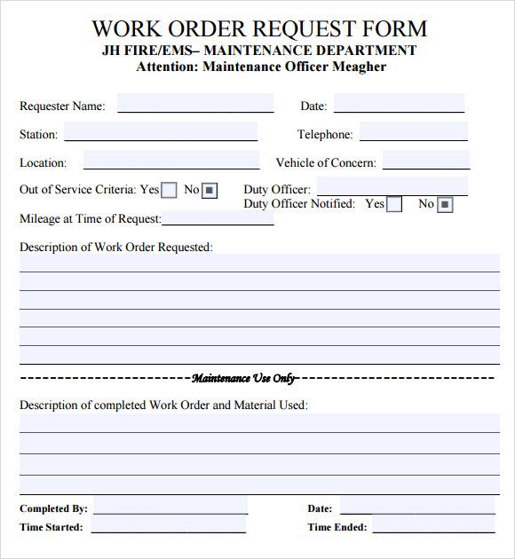 work order template word doc free work order templates. Black Bedroom Furniture Sets. Home Design Ideas