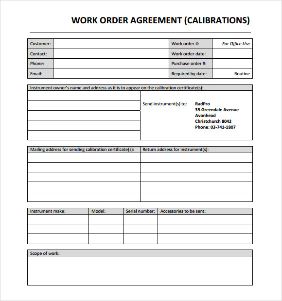 work order template word doc free work order templates. Black Bedroom Furniture Sets. Home Design Ideas