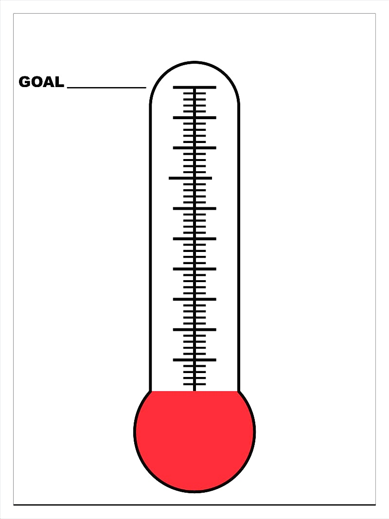 Fundraising goal tracker free download elsevier social for Money thermometer template